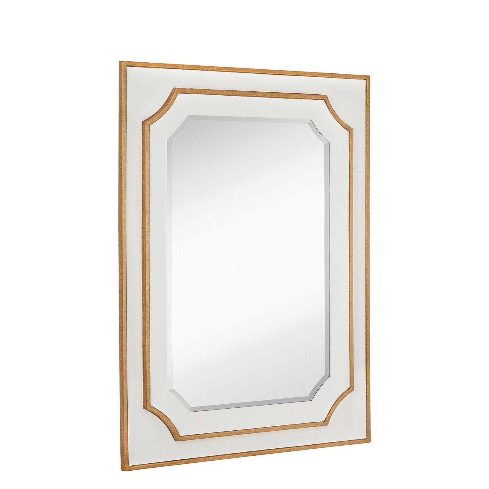 Majestic Mirror Rectangular Beveled Glass Wooden Frame Wall Mirror
