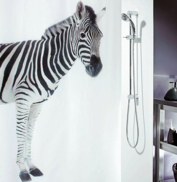 Duschvorhang Zebra Black Antibakteriell Und Wasserabweisend