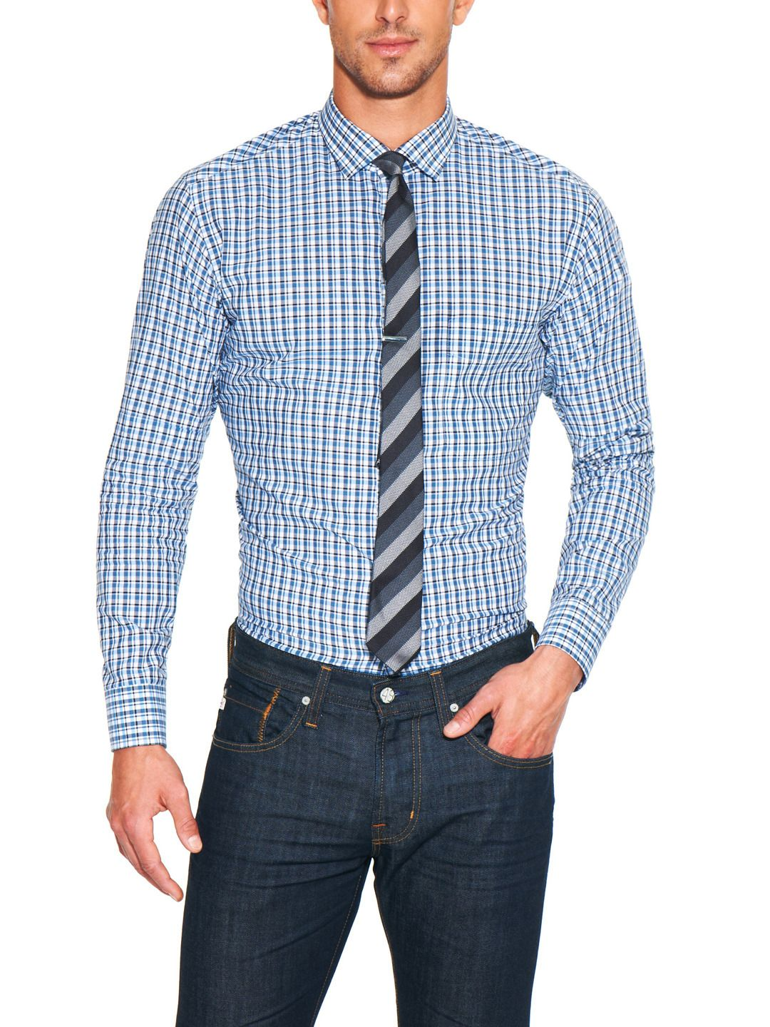 skinny striped tie with skinny gingham shirt BUT you must ...