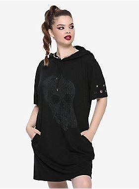 c5d05f62109e Not just any ol' hoodie dress // Black Glitter Skull Hematite Grommet Short  Sleeve Hooded Dress Plus Size