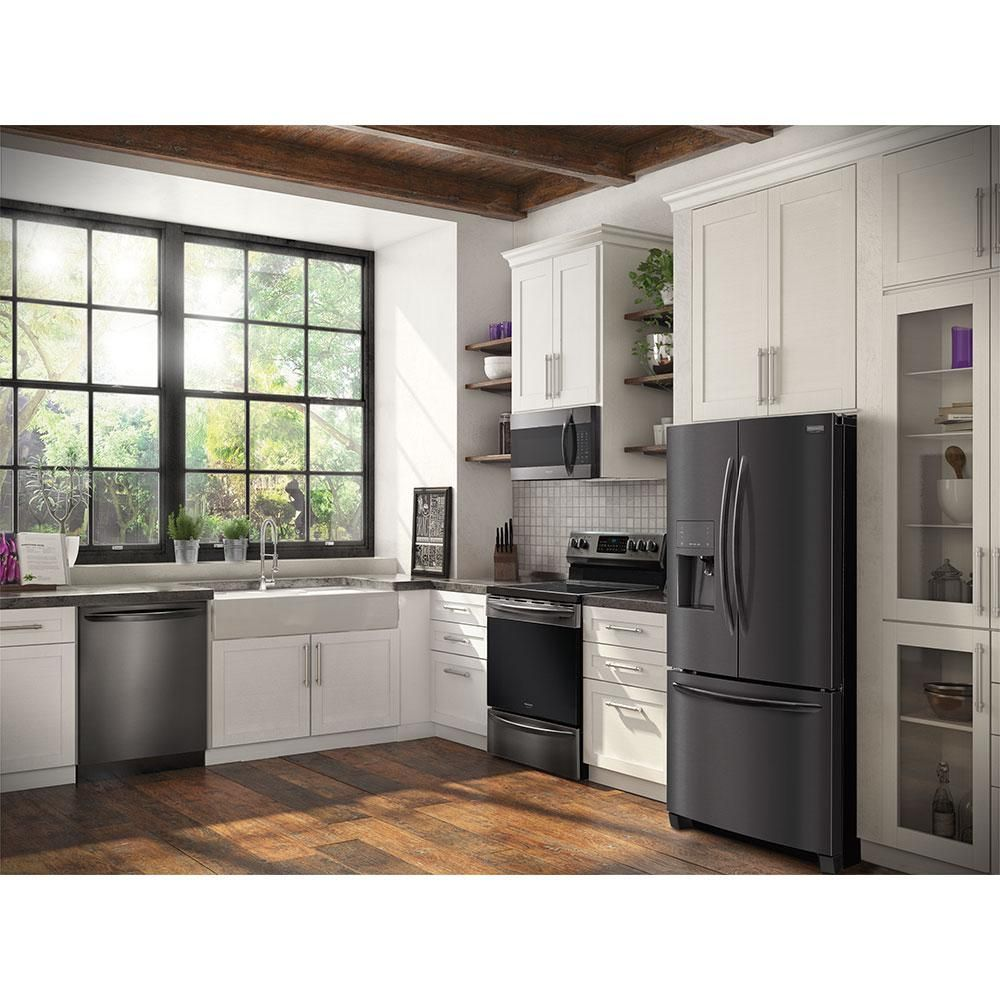 Frigidaire Gallery Top Control Built In Tall Tub Dishwasher With Orbitclean Spray Arm Black Appliances Kitchen Slate Appliances White Cabinets Slate Appliances