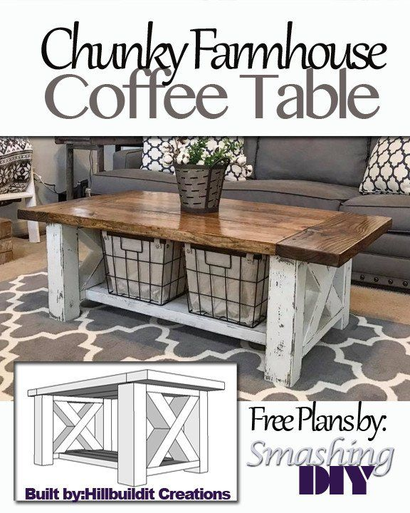 Step By Step Guide On How To Build This Chunky Farmhouse Coffee Table