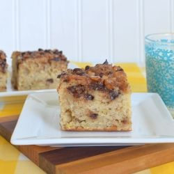 Banana Toffee Cake - Banana cake with a toffee chocolate chip topping.