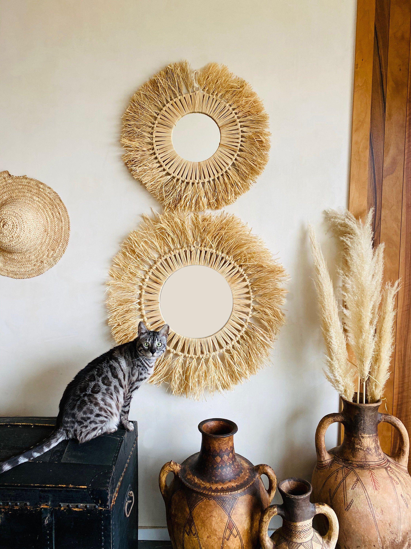 Raffia round mirror in 2020 Round mirrors, African