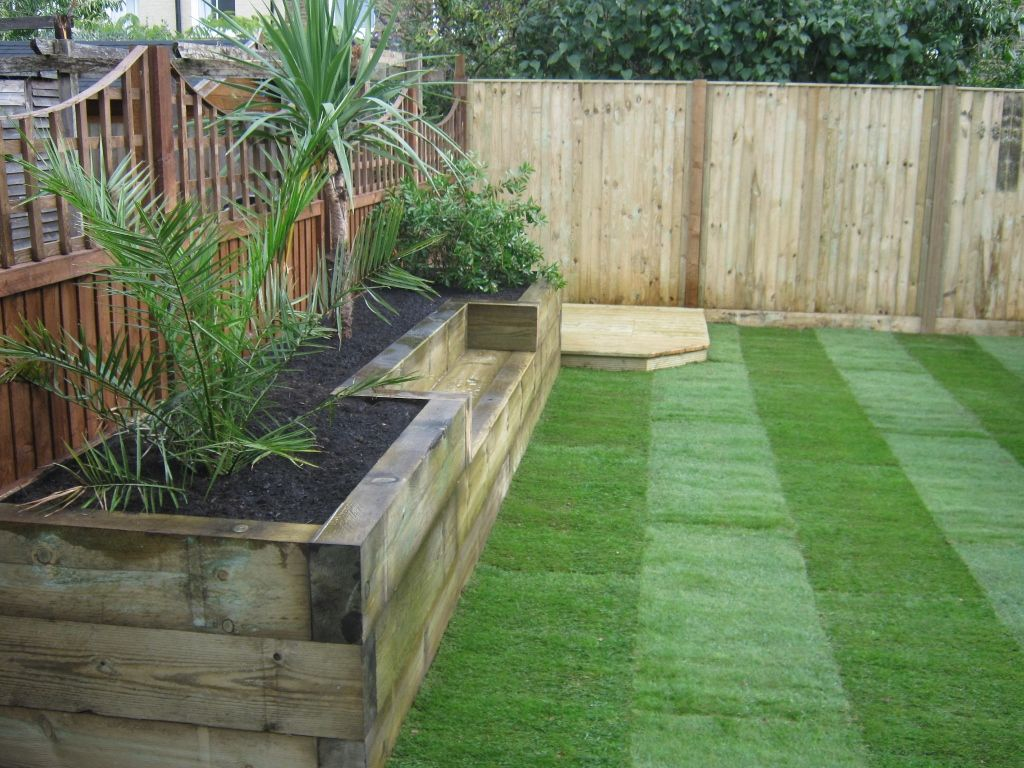 Bench & raised bed made of railway sleepers | Raised ...