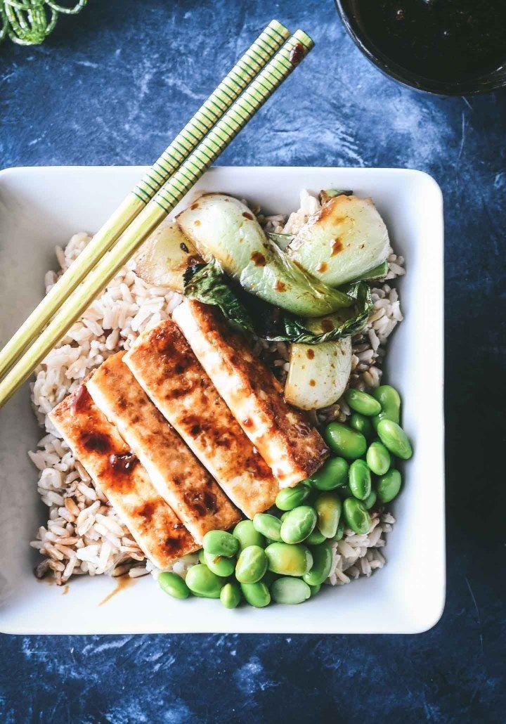 Crispy Teriyaki Tofu Rice Bowl Recipe Teriyaki tofu