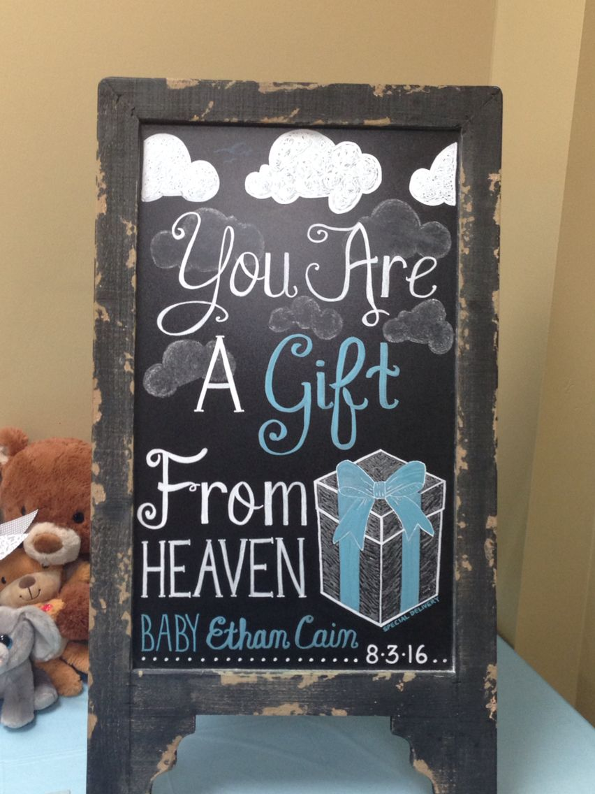 Heaven Sent baby shower chalkboard Gift from