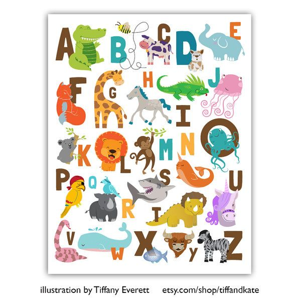 INSTANT DOWNLOAD Animal Illustrated Alphabet ABC's by KudzuMonster etsy.com/shop/kudzumonster