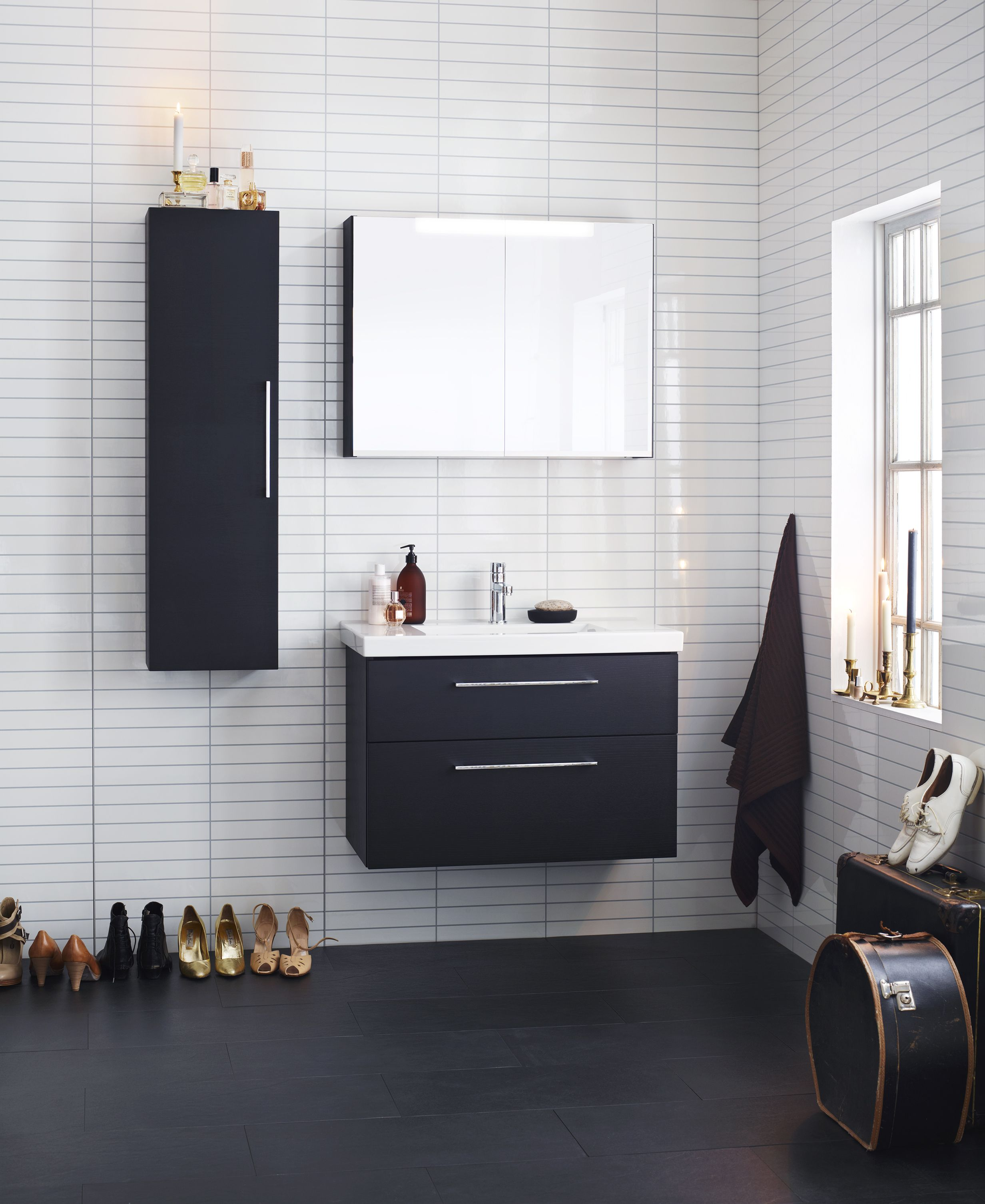 Aspen Badrum Viskan Vit Svart White Black Scandinavian Design Bathroom Furniture