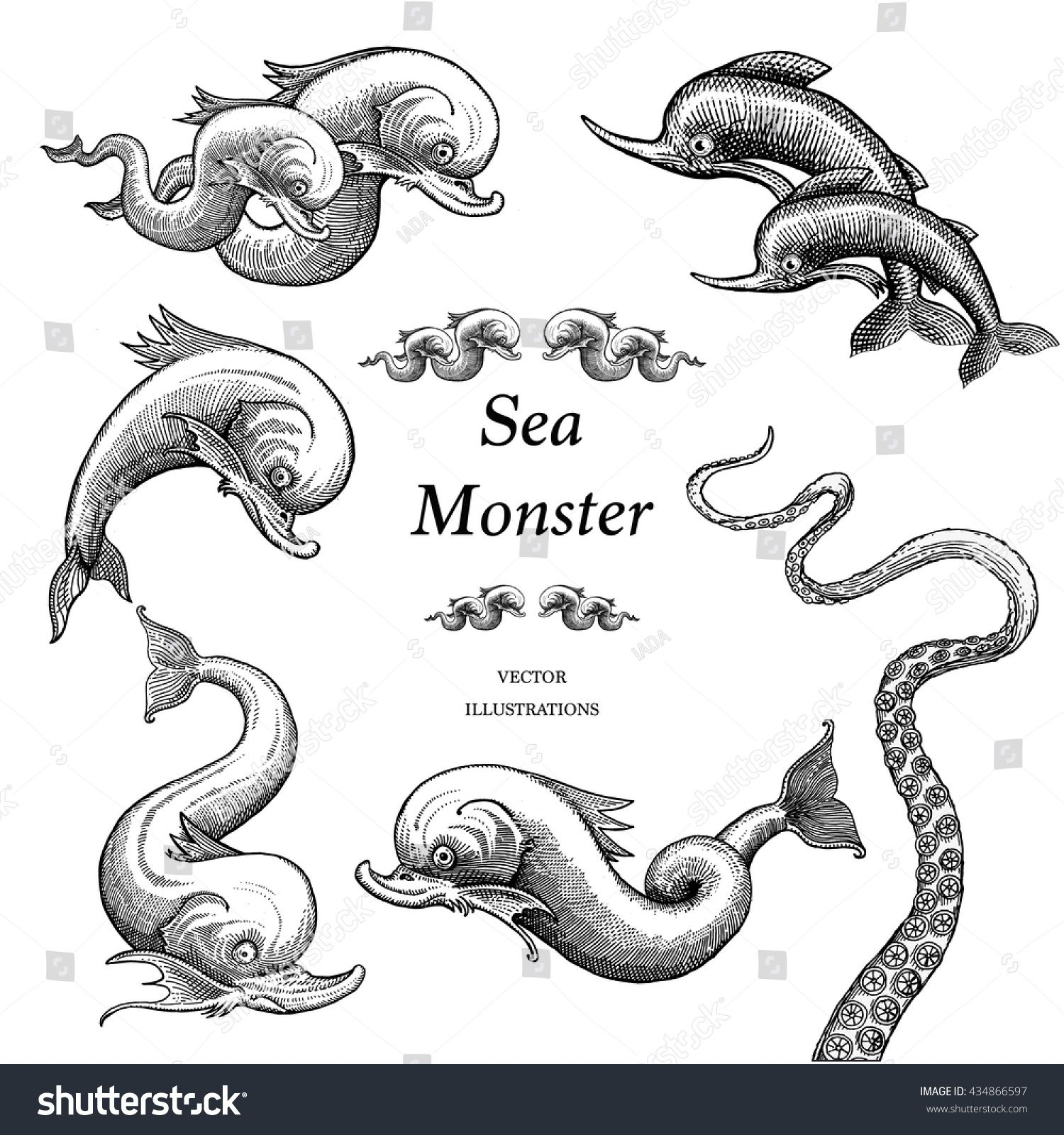 Sea Monster Illustrations In A Vintage Style Monster Illustration Sea Monsters Sea Monsters Drawing