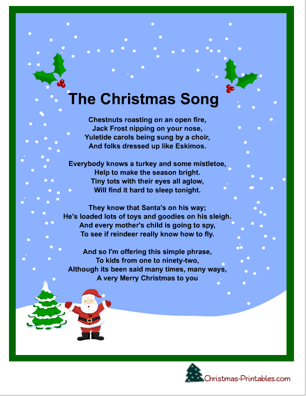 Let it snow christmas song lyrics printable holiday for Who wrote the song white christmas