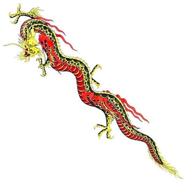 Long Chinese Dragon Tattoo Design -  An awesome tattoo design of a long yellow and red Chinese dragon.  - #chinese #chinesedragontattoo #design #dragon #Long #targaryentattoo #tattoo