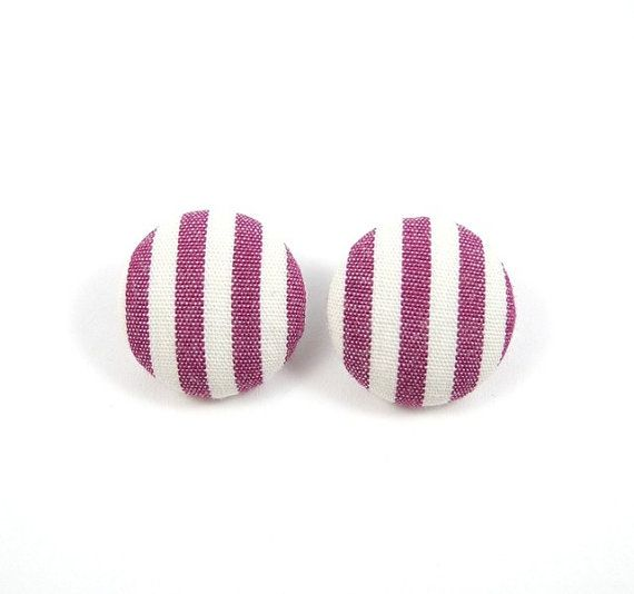 Dark Pink and White Stripes Earring Studs Geometric by MistyAurora, $11.50
