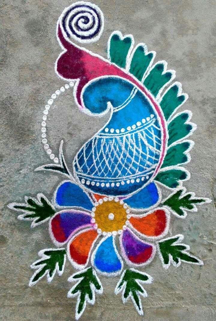 Rangoli design Free hand rangoli design, Rangoli designs