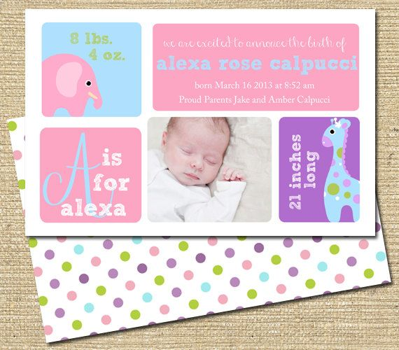 Baby Girl Birth Announcement   Custom Photo by PinkSangriaDesigns, $12.00