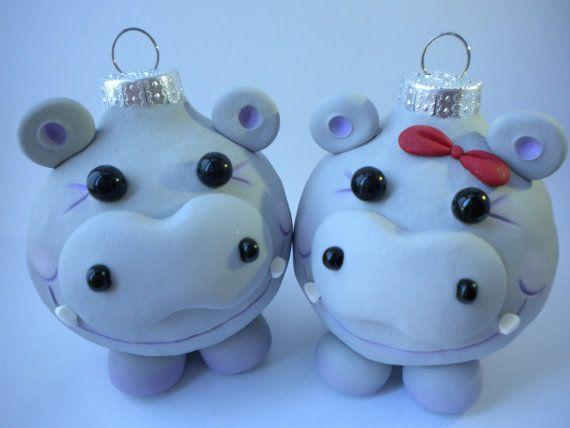 Hippopotamus Christmas Ornaments I want a hippopotamus \u003c3