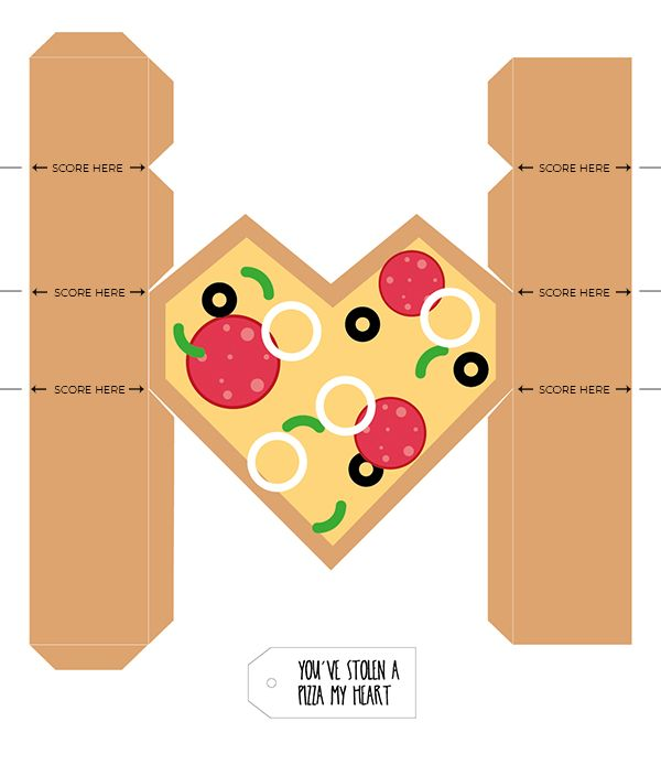 Printable Pizza Heart Gift Boxes For Valentine S Day Valentines