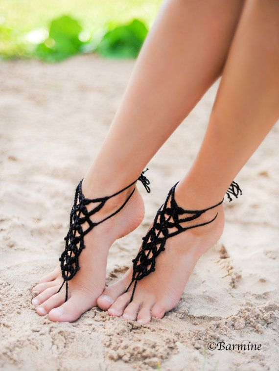 Beach Wedding Beach Pool Party Summer Crochet Tribal Beaded Barefoot Sandals Bridesmaid Barefoot gift
