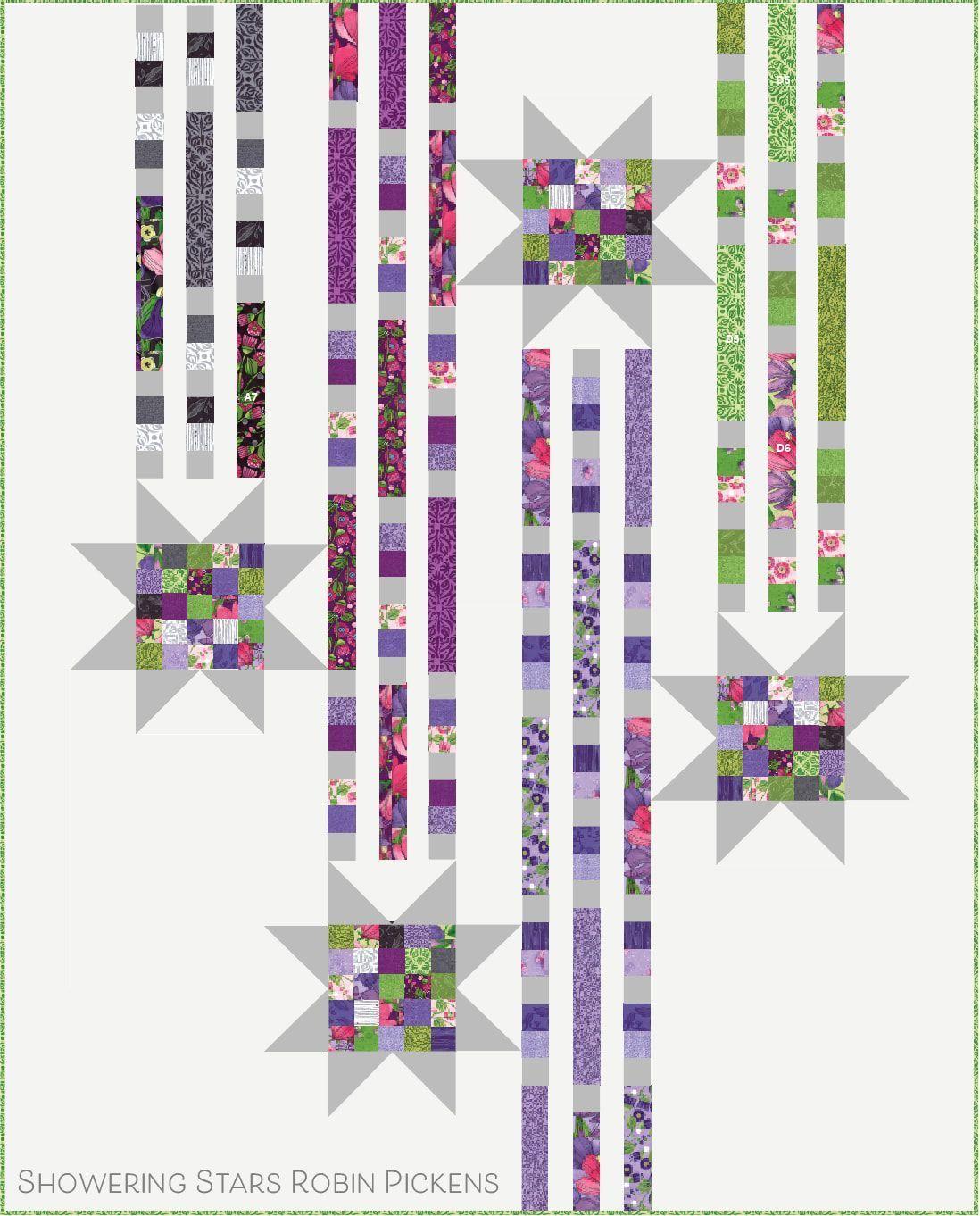 Showering Stars Quilt Pattern #starquiltblocks