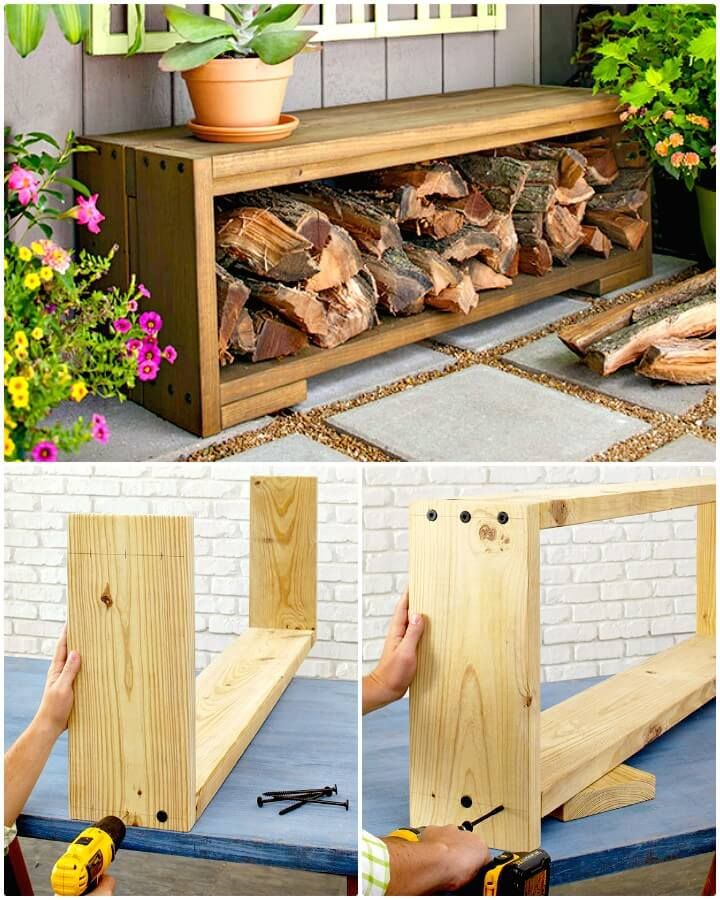 Diy Bench With Firewood Storage 14 Best Diy Firewood Rack Ideas Firewood Storage Ideas Diy Crafts Diy Wood Projects Patio Storage Diy Bench Outdoor