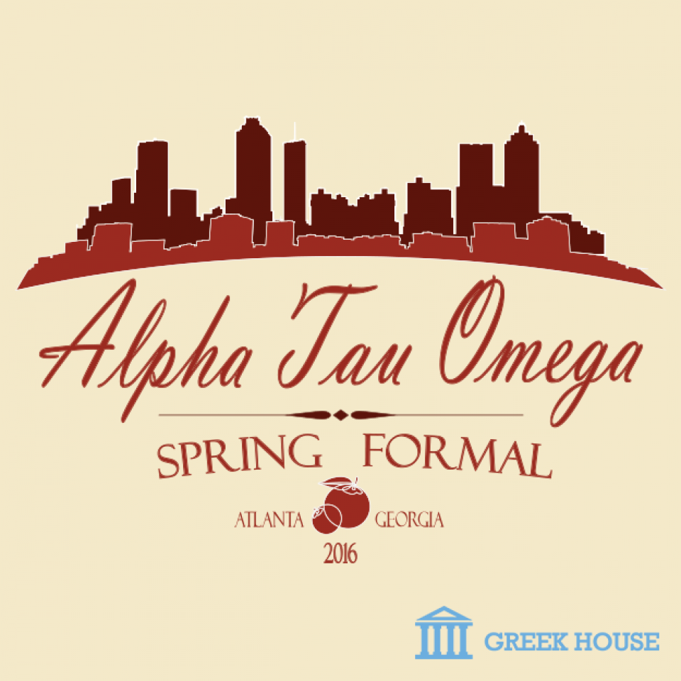 Design Gallery | Greek House Design | Alpha Tau Omega | ATO | Formal | Social | Spring | Fraternity | Frat Life | Frat | Greek Life | T-Shirt