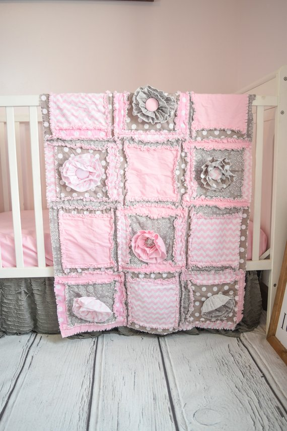 Baby Bedding Baby Girl Crib Set - Pink / Grey Crib Bedding ...