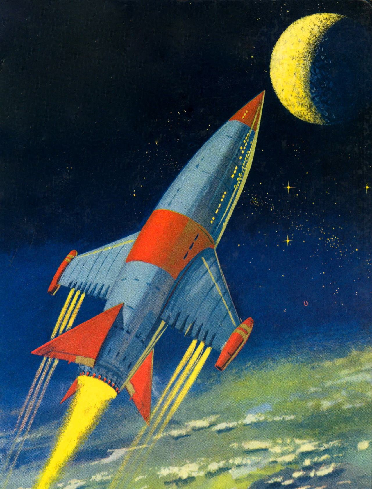 Blue rocket 1940 rocket ship art pinterest sci fi for Retro outer space