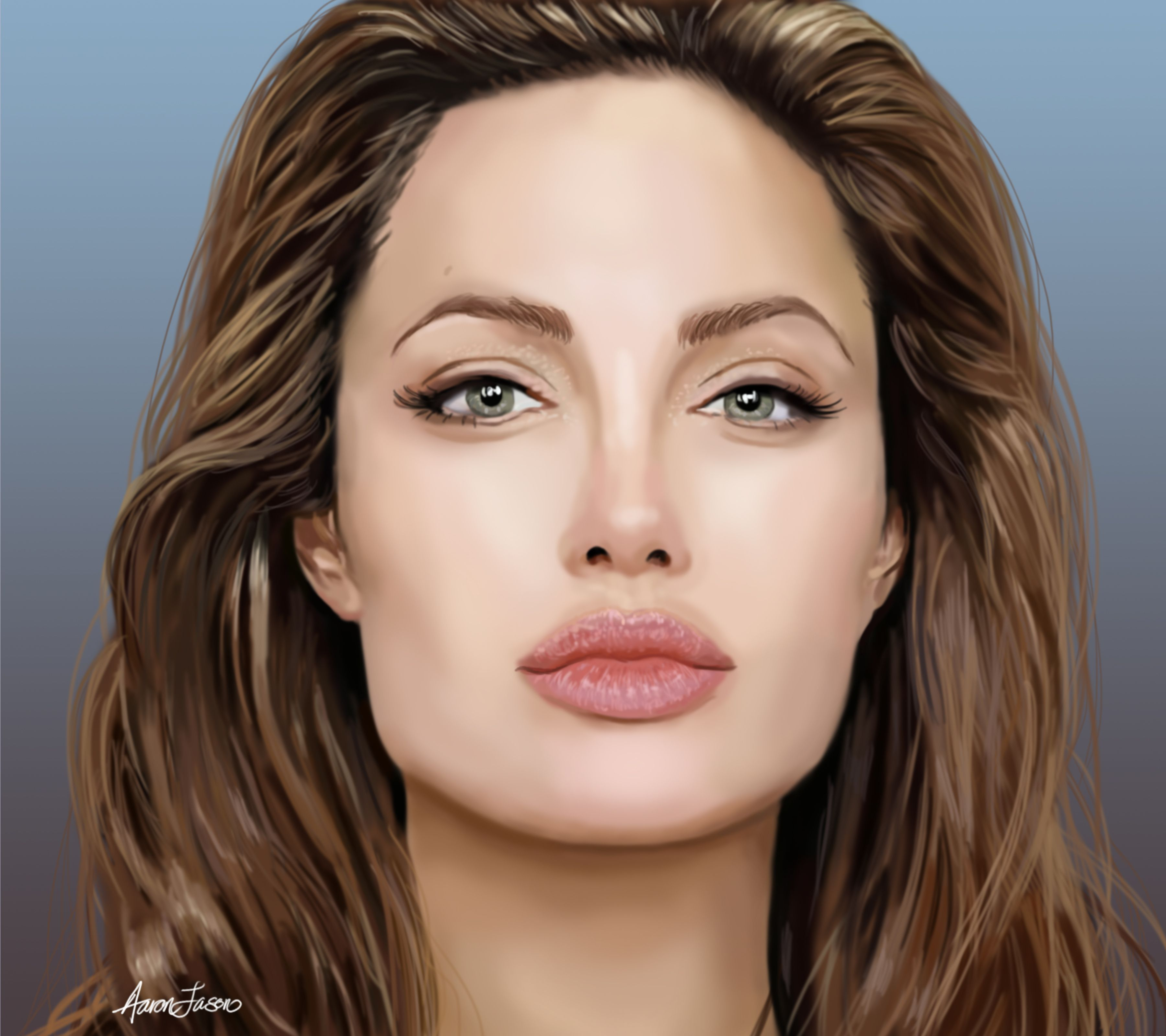 Drawing Of Angelina Jolie Square Face Shape Square Face