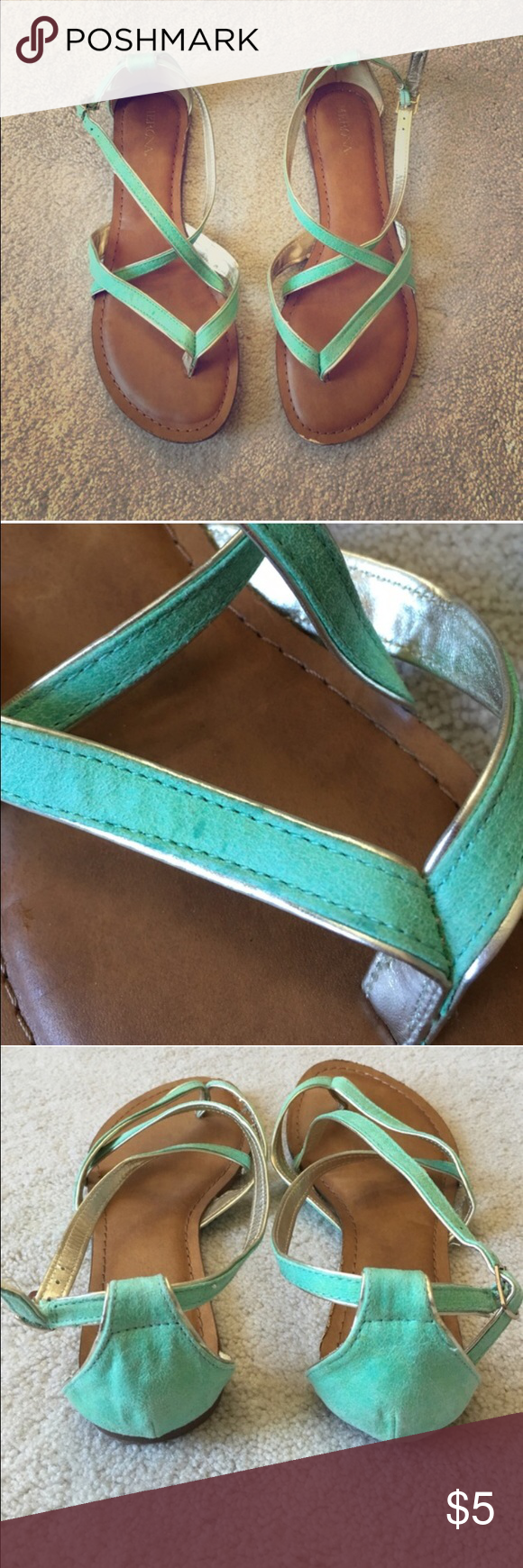 Mint and gold strappy sandals Mint and gold strappy sandals in excellent condition Merona Shoes Sandals