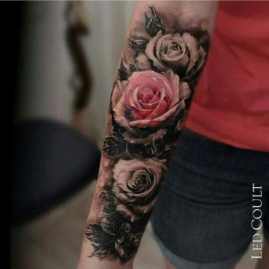Black And White Small Amount Of Color Flower Tattoo Rose Tattoos For Women Rose Tattoo Sleeve Rose Tattoo Design