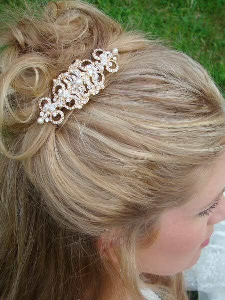 Vintage Style Gold Plated Crystal Wedding Brooch Comb - Affordable Elegance Bridal -