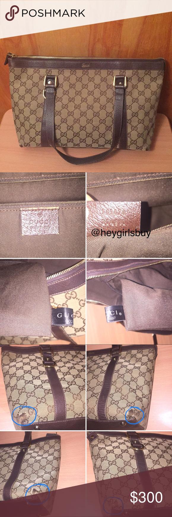eac547b517c8 Gucci GG Monogram Abbey Tote Shoulder Bag Brown Authentic Gucci Abbey Tote  Brown GG Monogram canvas