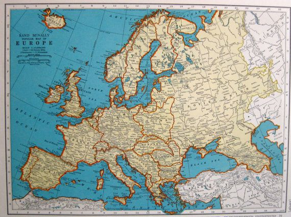 Delightful VINTAGE EUROPE Map 1942 Map Of Europe Neat By UpcycleFarmer