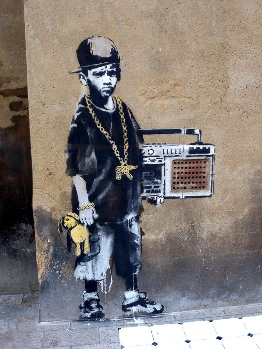 Banksy Framed Canvas Street  graffiti Urban  Art Print  boy taking photo