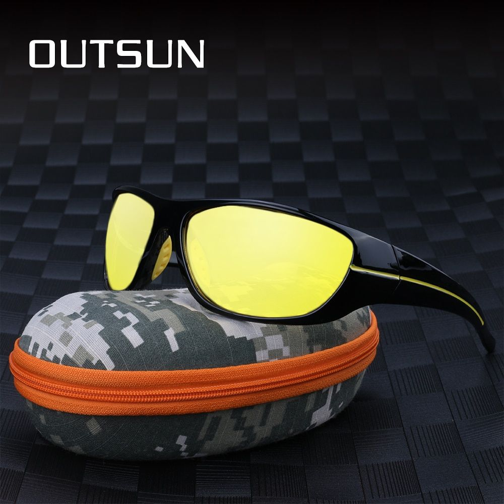 33c01850a37 OUTSUN Men Polarized Night Driving Sunglasses Yellow Lens Night Vision  Glasses Goggles Reduce Glare Review