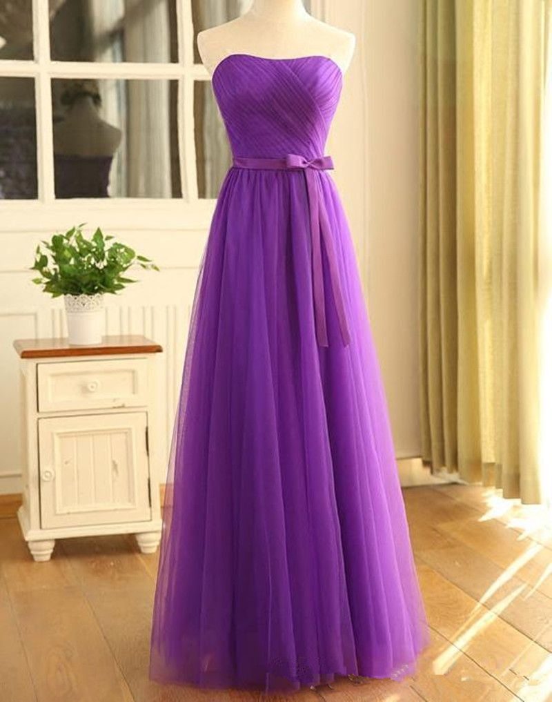 Click to buy ucuc fashion long purple prom dresses strapless bow