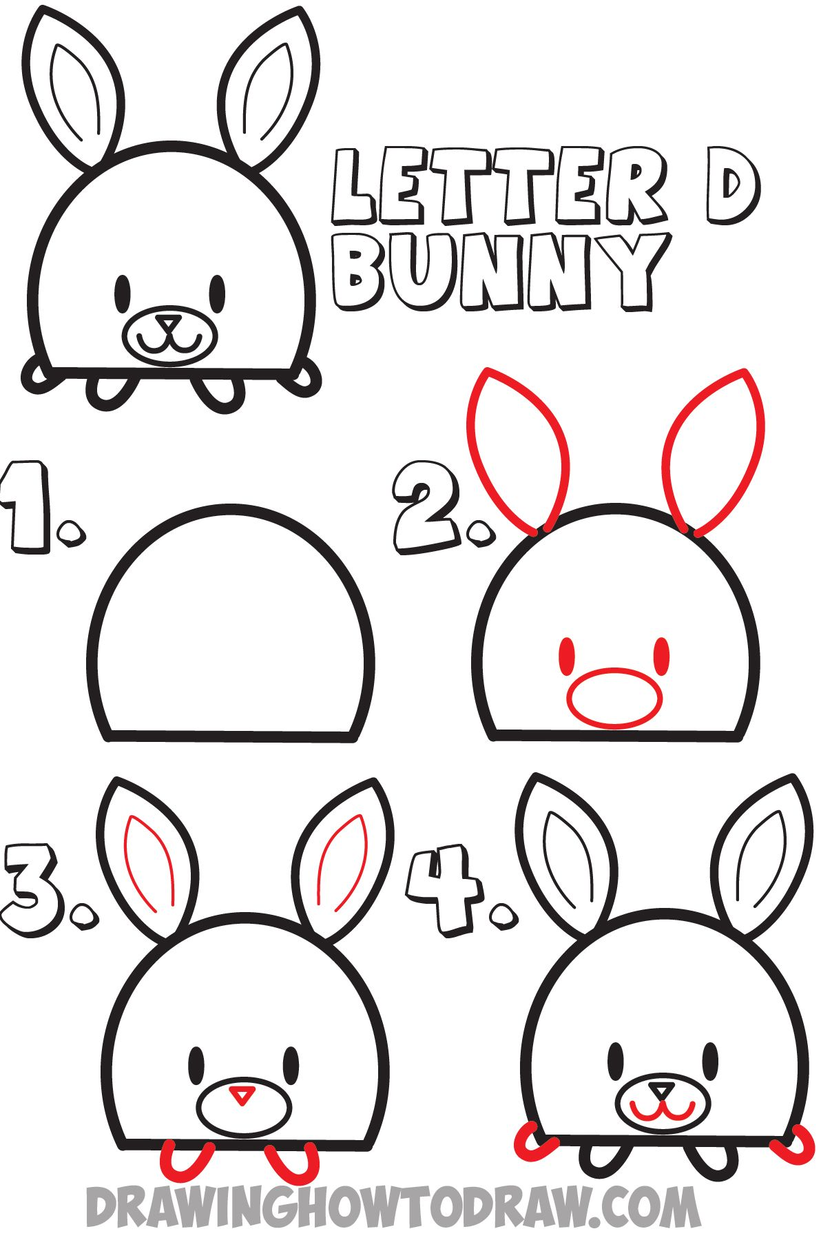 How To Draw A Cartoon Bunny Rabbit From The Letter D