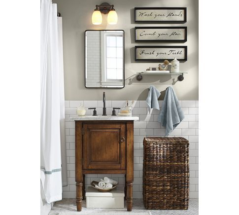 Vintage Recessed Medicine Cabinet & |SIENA SINGLE SINK CONSOLE - Pottery  Barn - Vintage Recessed Medicine Cabinet The Powder Room Bathroom