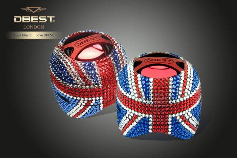 DBEST® Union Jack DuoMini-Speaker Swarovski Decorated    Because She's Worth It