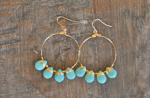 TURQUOISE DROP EARRINGS by MadMadeMetals on Etsy, $30.00
