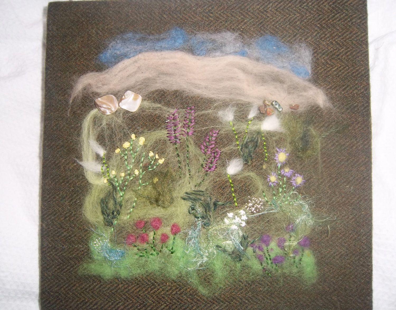 Machair Flowers Harris Tweed Textile Art Wall Hanging Isle Of Lewis Scotland Scottish 75 00 Via Etsy Hanging Wall Art Textile Art Art
