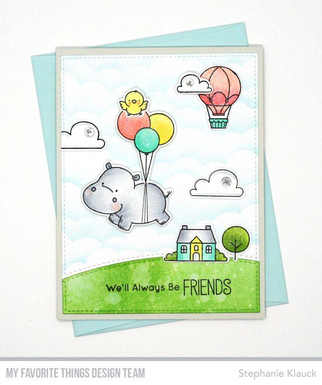 Happy Hippos Stamp Set and Die-namics, Up in the Air Stamp Set and Die-namics, Stitched Basic Edges Die-namics, Mini Cloud Edges Stencil - Stephanie Klauck #mftstamps