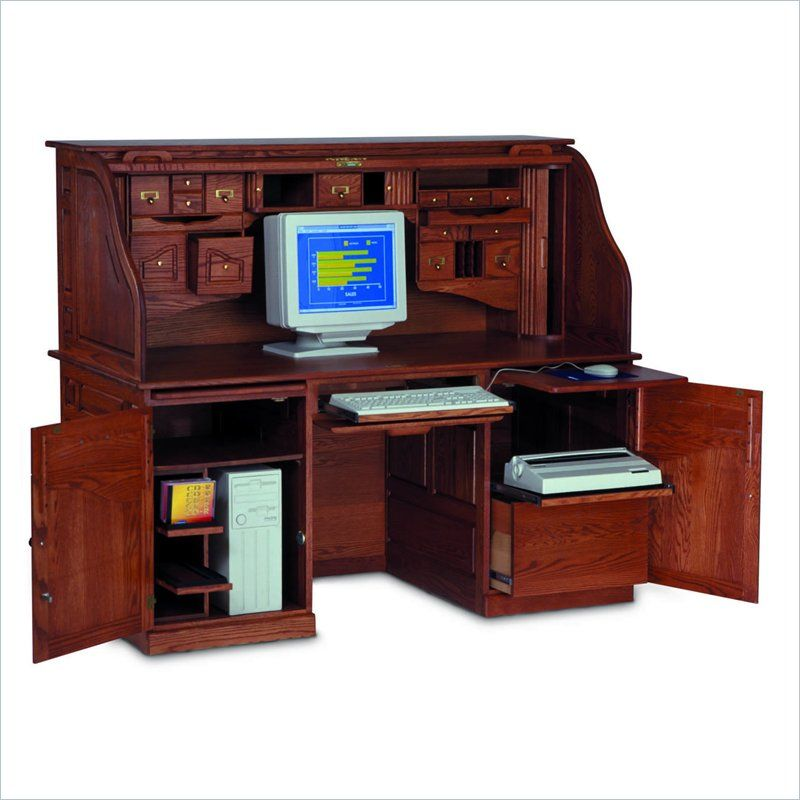 Furniture Classy Traditional Solid Wood Computer Desk Design