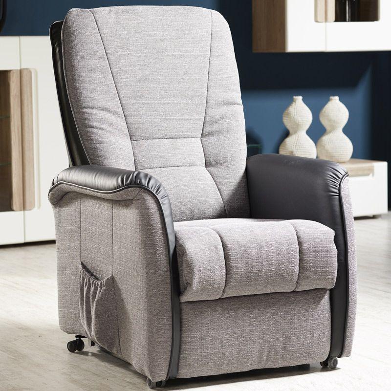 E Combuy Angebote TV Sessel RIPENDRA242 Kunstleder Schwarz, Stoff Grau  Inkl. Motor: