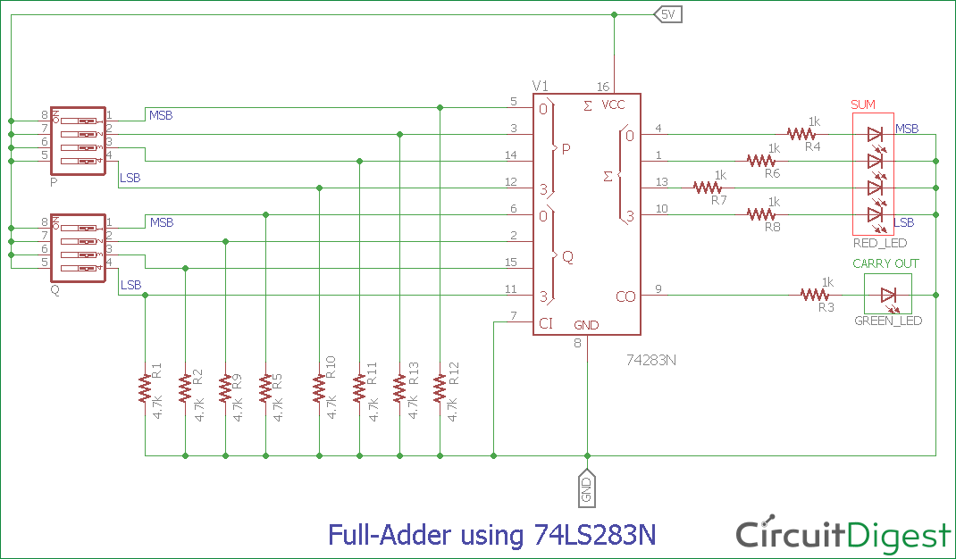 Full Adder Circuit And Its Construction Circuit Theory Circuit Electronic Organization