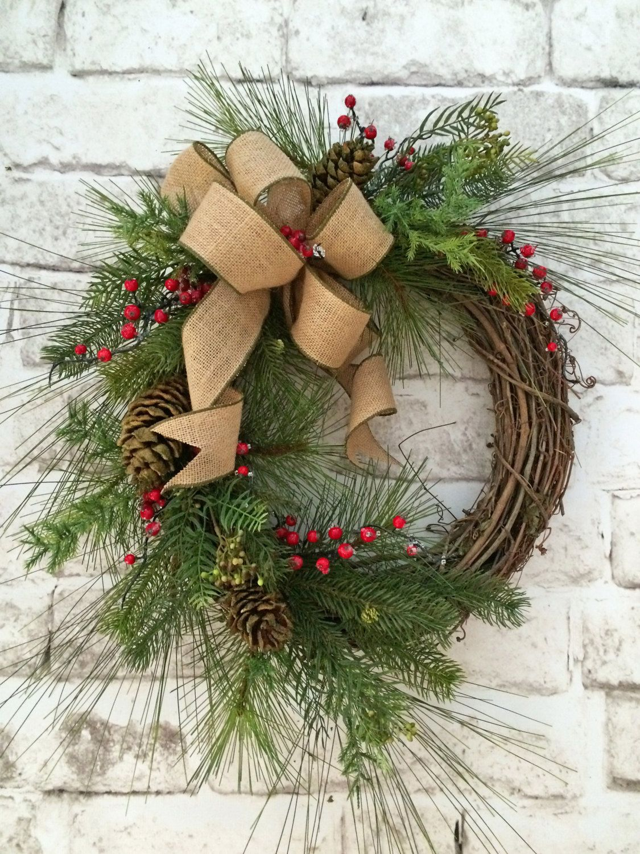 Winter Wreath, Christmas Wreath For Door, Christmas Decor, Holiday Wreath,Silk  Wreath,Grapevine Wreath,Outdoor Wreath,Front Door Wreath,Etsy