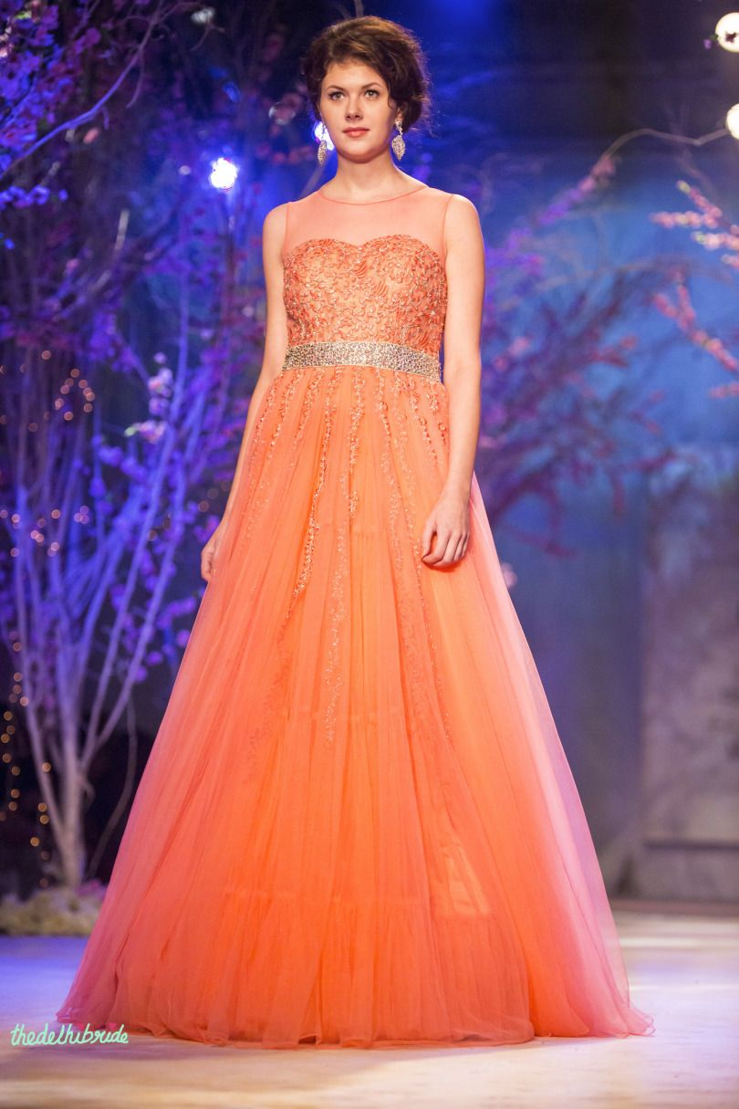 Orange Princess Gown For Your Engagement Gowns Long Striped Maxi Dress Bridal Fashion Week [ 1215 x 810 Pixel ]