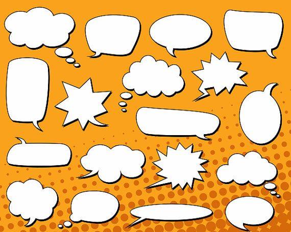 Comic Book Speech Bubbles Clip Art Text Bubbles Clipart Chat Bubbles Text Clouds Instant Download Ydc015 Book Clip Art Comic Book Art Style Comic Text
