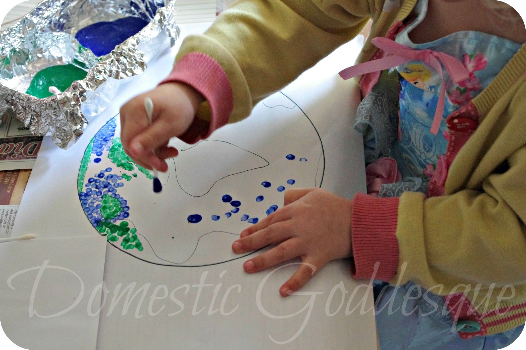 reduce reuse recycle earth day cotton bud painting domestic