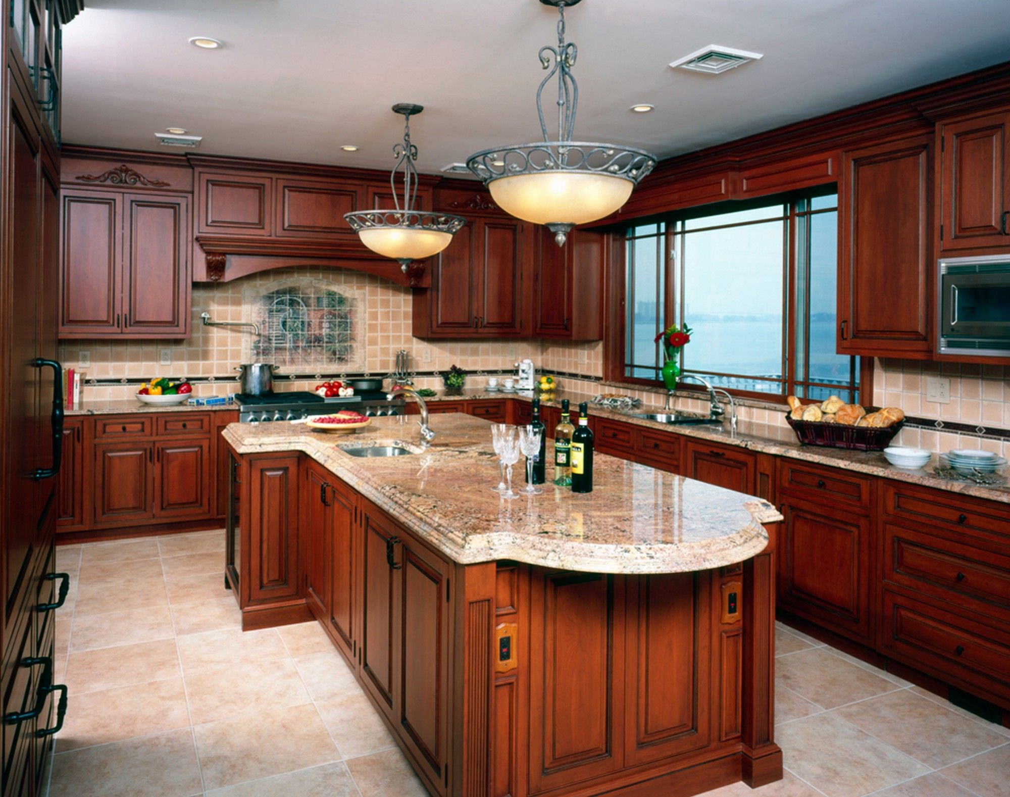 Sublime Kitchen Island Design With Brown Wooden Cabinet Also White